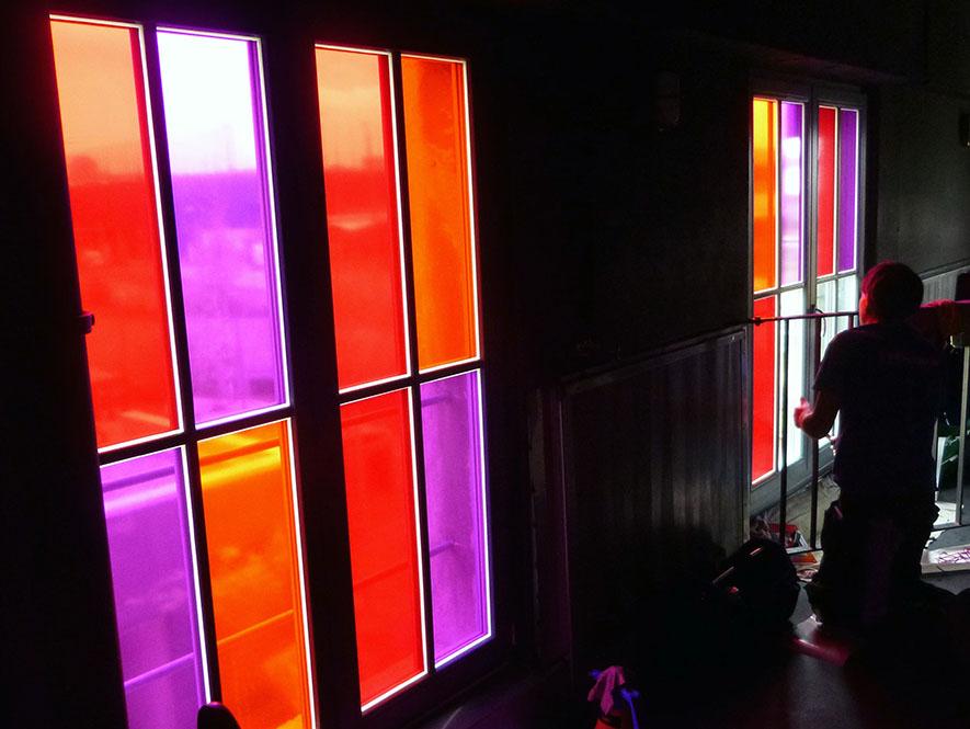 Sichtschutz Farbfolien Montage